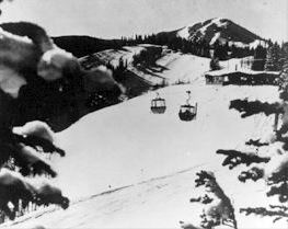Two Lifts in Air at Park City Resort in Black and White