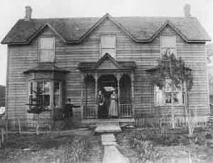 Front View of Lyons House in Black and White