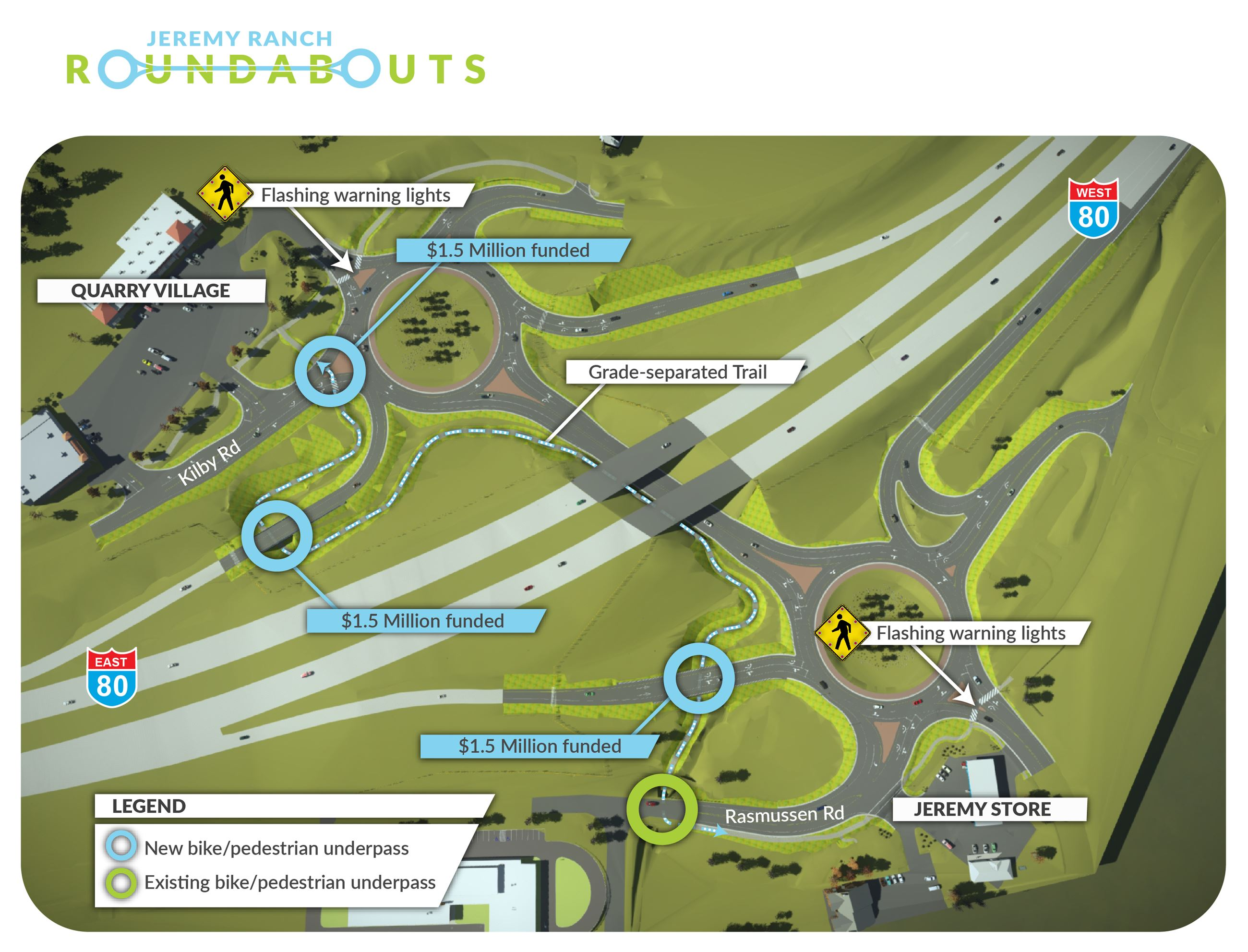 Jeremy Ranch Roundabouts Trails Map 3.21.19