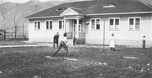 Boys Playing in Front of Echo Canyon School